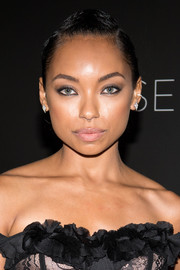 Logan Browning sported a sleek braided updo at the 'Dear White People' FYC event.