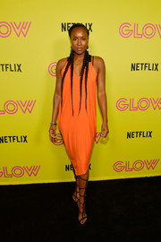 Sydelle Noel styled her dress with a pair of tall gladiator heels.