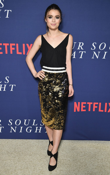 Sami Gayle paired a gold sequin pencil skirt with a black cami for the New York premiere of 'Our Souls at Night.'