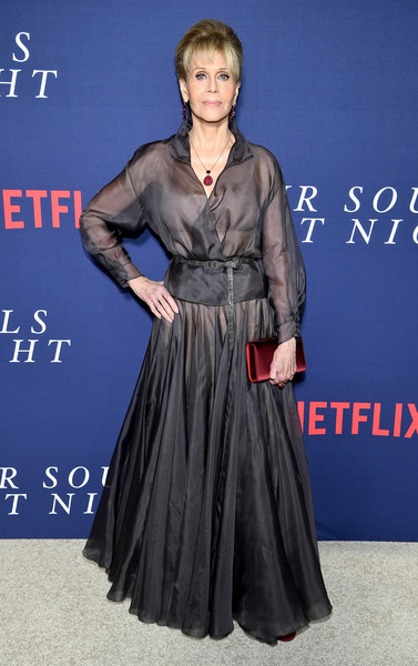 Jane Fonda rocked the sheer trend so elegantly with this gray wrap top by Dior Couture at the New York premiere of 'Our Souls at Night.'