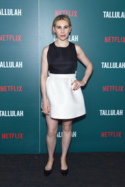 Zosia Mamet donned a sweet-looking black-and-white mini dress for the special screening of 'Tallulah.'