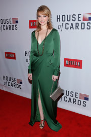 Kristen Connolly looked serenely elegant in this silky draped wrap dress at the 'House of Cards' NY premiere.