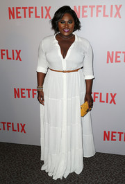 Danielle Brooks looked summery in a white maxi shirtdress during the 'Orange is the New Black' Q&A.