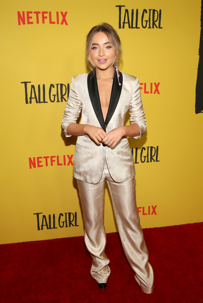 Sabrina Carpenter went menswear-chic in a gold and black pantsuit by Missoni at the special screening of 'Tall Girl.'