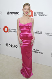 Sydney Sweeney looked alluring in a Barbie-pink corset gown by Dolce & Gabbana at the 2020 Elton John AIDS Foundation Oscar-viewing party.