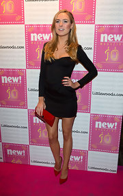 Kimberley Garner opted for a long-sleeved version of the little black dress for her red carpet look.