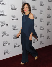 Maggie sported an off-the-shoulder blue jumpsuit by Phillip Lim.