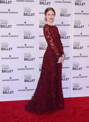 Julie Henderson looked dreamy in a flower-embroidered red Valentino gown at the New York City Ballet Spring Gala.