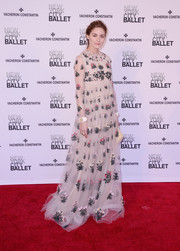 Olivia Palermo enchanted at the New York City Ballet Spring Gala in a floaty, floral-embroidered empire gown by Valentino.