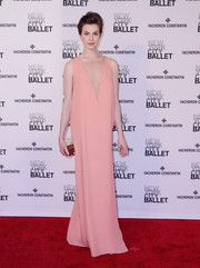 Elettra Wiedemann kept it minimal in a pink Lanvin gown with a plunging sheer panel during the New York City Ballet Spring Gala.