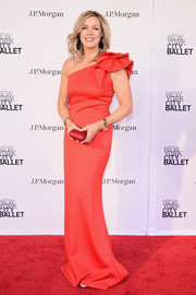 Deborah Norville got glam in a red one-shoulder gown with bow detail for the New York City Ballet 2018 Spring Gala.