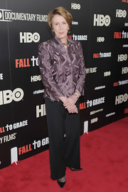 Nancy Pelosi chose wide-leg black slack for her red carpet look at the 'Fall to Grace' screening.