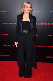 Kate Hudson was sleek and sophisticated in a black Elie Saab jumpsuit at the New York premiere of 'The Hateful Eight.'
