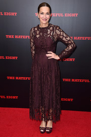 Cynthia Rowley was demure and chic in a burgundy lace dress during the New York premiere of 'The Hateful Eight.'