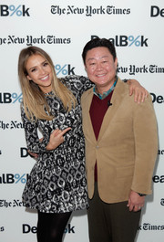 Jessica Alba was winter-chic in a Lela Rose print dress and black tights at the New York Times Dealbook conference.
