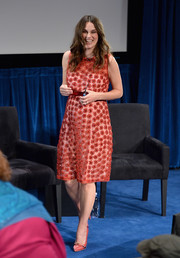 Keira Knightley matched her frock with a cute pair of pink loafer pumps by Manolo Blahnik for Alexander Lewis.