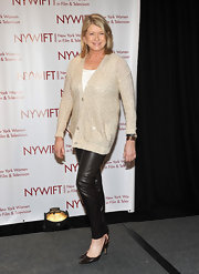 Martha Stewart opted for a sexier look than usual with a pair of skinny leather pants.