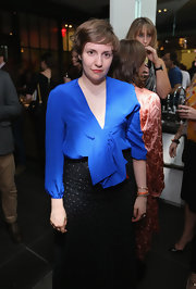 Lena looked downright ladylike at The New Yorker Festival party in a voluminous cobalt blouse.