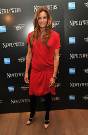 Kelly Bensimon topped off her look with nude leather Mary Jane pumps.