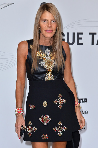 Anna dello Russo accessorized her dark outfit with a colorful cuff bracelet during the Who is On Next event.