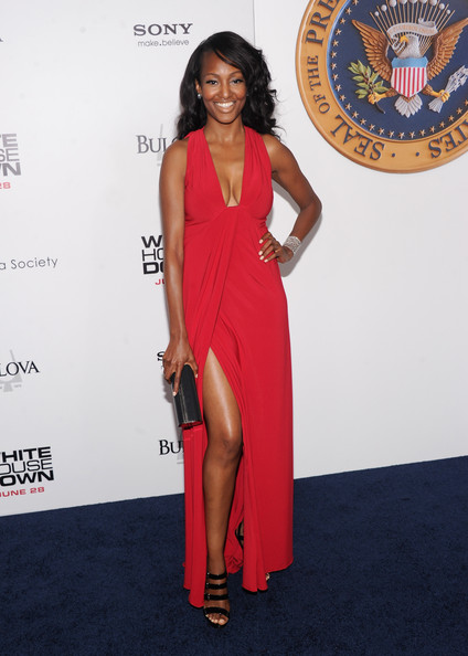 Nichole Galicia Evening Dress [white house down,red carpet,red carpet,clothing,dress,shoulder,carpet,cocktail dress,premiere,fashion,thigh,joint,nichole galicia,new york,ziegfeld theater,new york premiere]