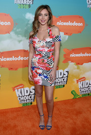 Ryan Newman sheathed her slim figure in a floral-and-striped cold-shoulder mini dress by Guess for the Nickelodeon Kids' Choice Awards.