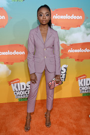 Skai Jackson pulled her look together with a zigzag-print clutch by Kotur.