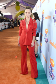 Brec Bassinger rocked a red House of CB pantsuit with lace-up shoulders at the 2017 Kids' Choice Awards.