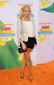 Arielle Kebbel added subtle color to her Kids' Choice Awards look with red patent peep toes.