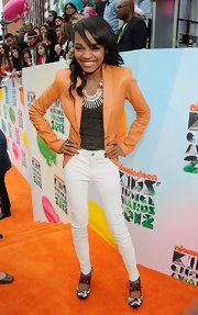 China Anne Mcclain looked cute in this orange leather blazer at the Kids' Choice Awards.