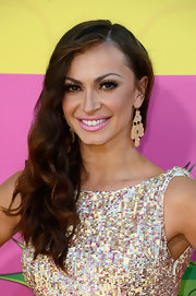 Karina Smirnoff pulled her thick waves to one side for this ultra-glam red carpet look.