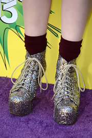 Sammi Hanratty chose these sparkly, platform booties that were reminiscent of the Spice Girls for her funky look at the KCAs.