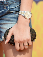 Zendaya Coleman accessorized with a beaded oval clutch by Swarovski at the 2014 Kids' Choice Awards.