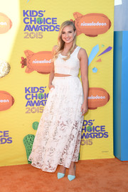 Veronica Dunne went for an ultra-girly finish with a sheer white floral skirt, also by Stella and Jamie.