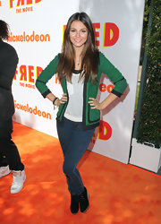 Actress Victoria Justice attended the premiere of Nickelodeon's Fred wearing a Monrow Knit Print Jacket in Lucky.