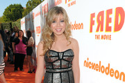 Jennette McCurdy Glimmers in a Metallic Cocktail Dress