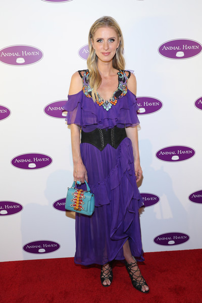 Nicky Hilton Rothschild Evening Dress [animal haven 50th anniversary gala - arrivals,nicky hilton rothschild,clothing,purple,red carpet,carpet,dress,hairstyle,shoulder,cocktail dress,long hair,flooring,animal haven 50th anniversary gala,capitale,new york city]