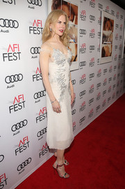 Silver ankle-strap sandals finished off Nicole Kidman's look.