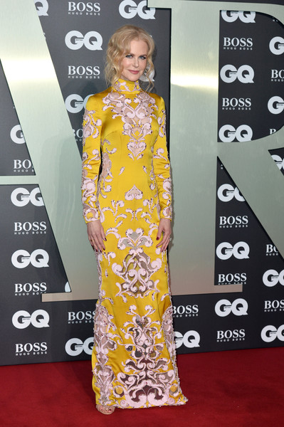 Nicole Kidman Beaded Dress [red carpet,clothing,carpet,dress,fashion model,yellow,flooring,fashion,hairstyle,premiere,red carpet arrivals,nicole kidman,gq men of the year awards,england,london,tate modern]