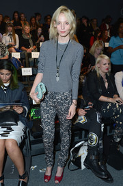 Cory Kennedy paired a striped crewneck sweater with floral pants for an eclectic look during the Nicole Miller fashion show.