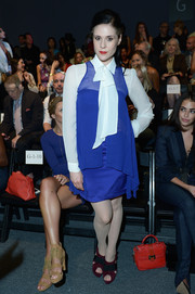 Kate Nash looked schoolmarmish in this long-sleeve blue and white number at the Nicole Miller fashion show.