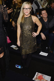 Rachael Harris was Art Deco-chic at the Nicole Miller fashion show in a black dress with geometric gold beading.