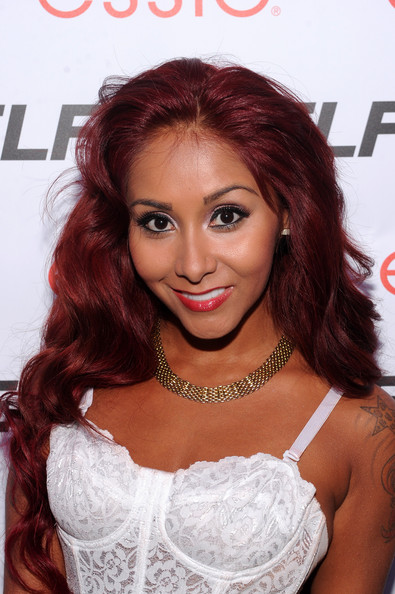 Nicole Polizzi Gold Chain [hair,hairstyle,eyebrow,hair coloring,beauty,lip,long hair,brown hair,chin,red hair,arrivals,nicole ``snooki polizzi,self rocks,new york city,event,summer event]