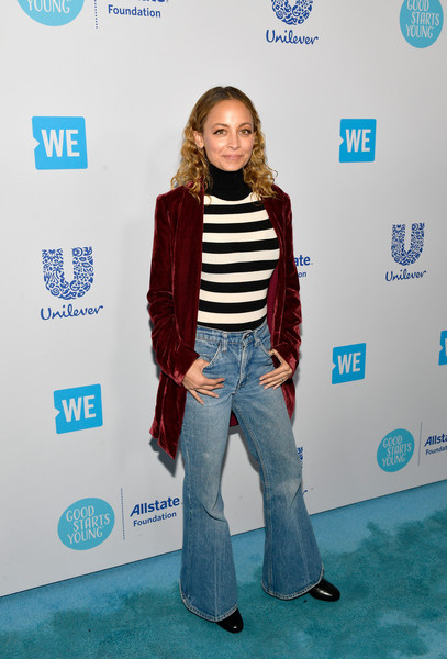 Nicole Richie Flare Jeans [blue,footwear,denim,jeans,electric blue,flooring,standing,fashion,outerwear,fun,young people changing the world,nicole richie,california,inglewood,the forum,we day]