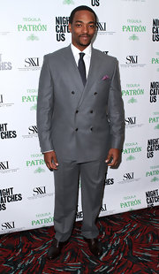 Anthony Mackie's grey double-breasted suit got him top marks for sophisticated style. And the pop of color from the pocket square gave him bonus points.