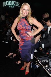 Melissa Joan Hart looked vibrant and girly in a fitted floral dress during the Nike/Levi's Kids Rock! runway show.
