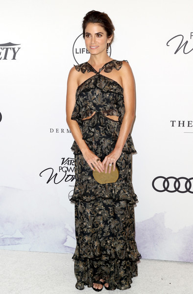 Nikki Reed Metallic Clutch [clothing,dress,fashion model,shoulder,cocktail dress,hairstyle,fashion,premiere,gown,waist,variety,power of women,los angeles,beverly hills,california,beverly wilshire four seasons hotel,nikki reed,arrivals]
