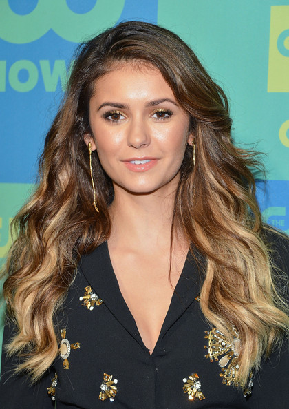 Nina Dobrev Gold Dangle Earrings