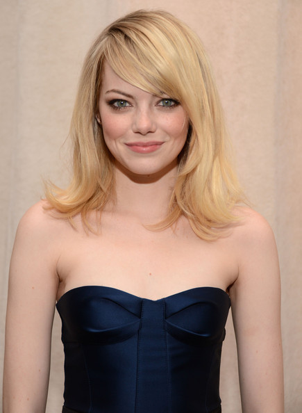 More Pics of Emma Stone Medium Straight Cut with Bangs (1 of 13) - Medium Straight Cut with Bangs Lookbook - StyleBistro