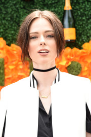 Coco Rocha pulled her locks back into a loose center-parted updo for the Veuve Clicquot Polo Classic.